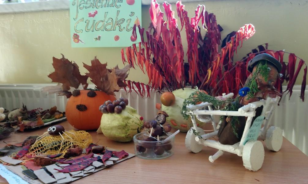 Zdjęcie wykonanych cudaków z darów jesieni