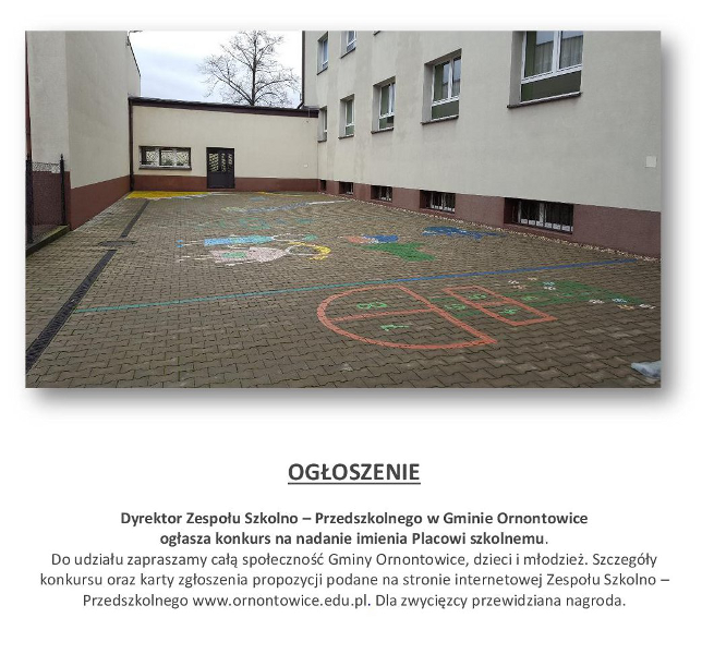 Ogłoszenie konkursu na nazwę placu szkolnego