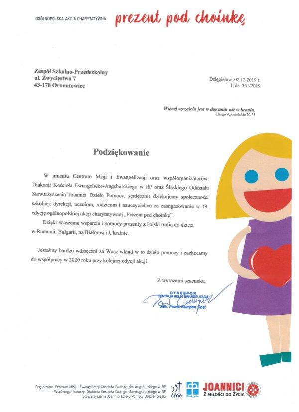 List z podziękowaniem za włączenie się w akcję prezent pod choinkę przez społeczność szkolną
