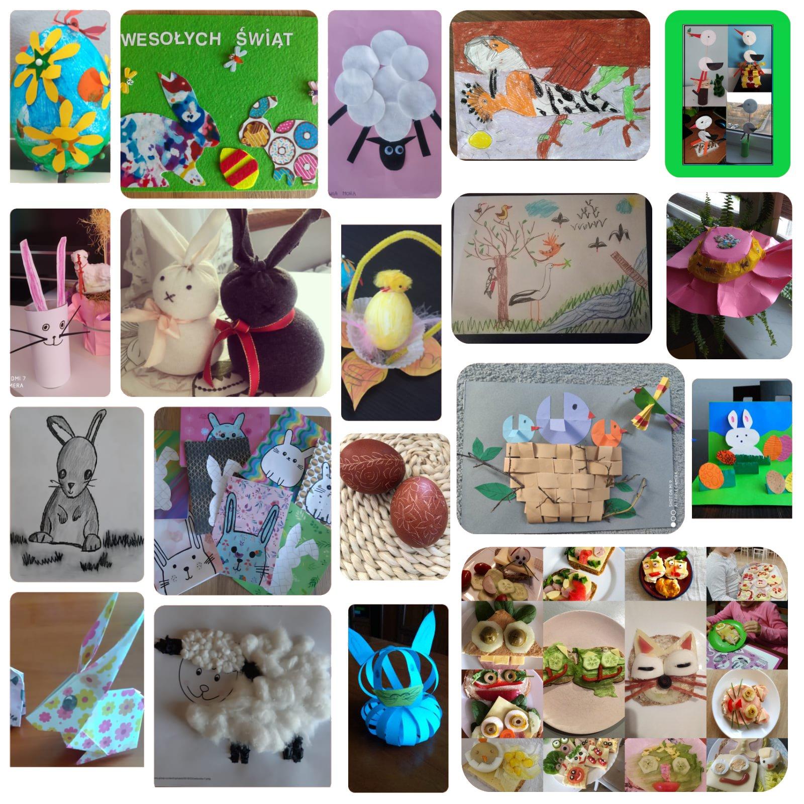 Zdjęcia prac plastycznych dzieci klas 1 do 3