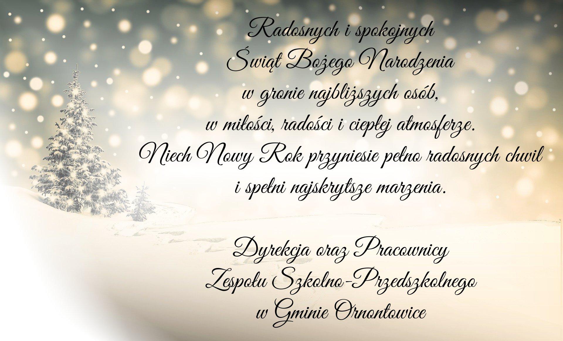 Radosnych i spokojnych Świąt Bożego Narodzenia w gronie najbliższych osób, w miłości, radości i ciepłej atmosferze. Niech Nowy Rok przyniesie pełno radosnych chwil i spełni najskrytsze marzenia. Dyrekcja oraz Pracownicy Zespołu Szkolno-Przedszkolnego w Gminie Ornontowice