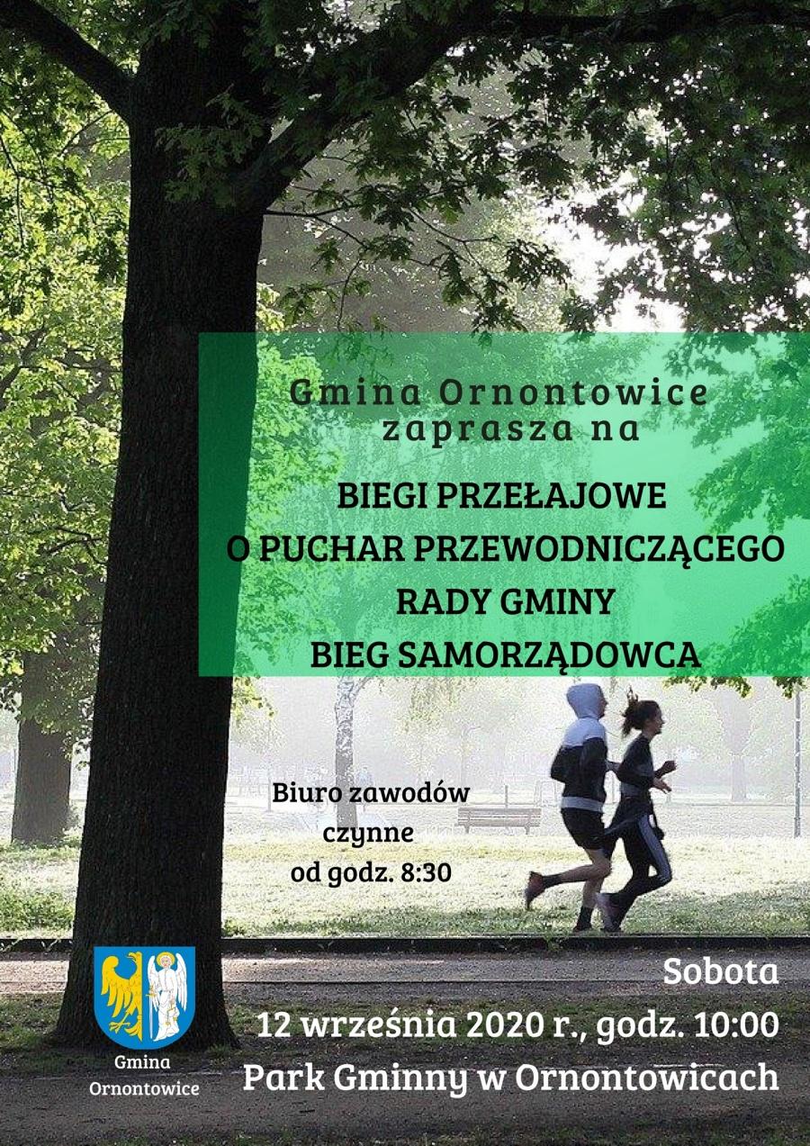 Zaproszenie na biegi przełajowe 12 września 2020 o godzinie 10 w Parku Gminnym w Ornontowicach