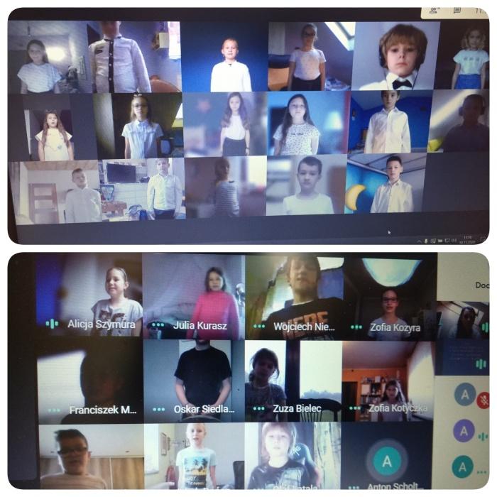 Zdjęcia z aplikacji Google Meet wybranych klas podczas śpiewania Hymnu Polski w ramach akcji #SzkołaDoHymnu
