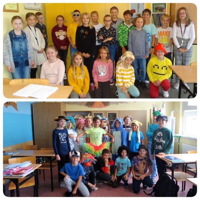 Zdjęcia grupowe klas 4b i 5a podczas Światowego Dnia Uśmiechu