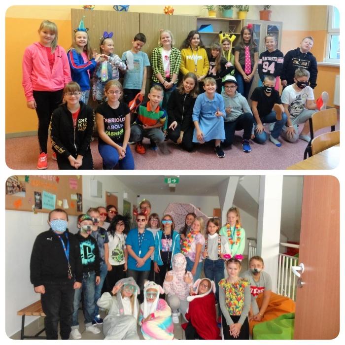 Zdjęcia grupowe klas 6c i 6d podczas Światowego Dnia Uśmiechu