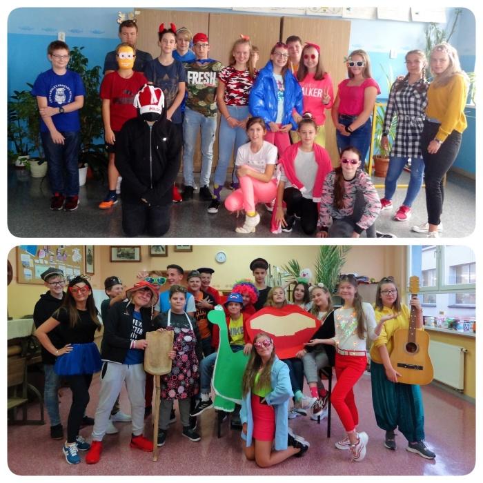 Zdjęcia grupowe klas 7e i 8a podczas Światowego Dnia Uśmiechu