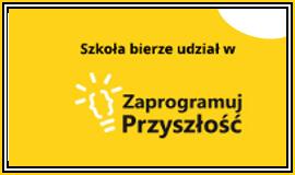 Logo projektu Zaprogramuj Przyszłość z odnośnikiem do strony https://www.zaprogramujprzyszlosc.edu.pl/